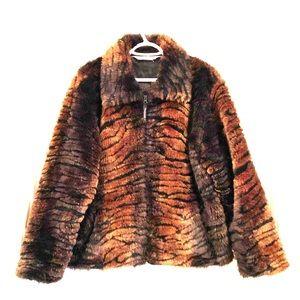 Vintage faux fur zip up short coat